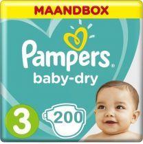 Pampers Baby Dry Maat 3 - 200 Luiers Maandbox