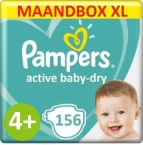 Pampers Active Baby Dry Maat 4+ - 156 Luiers Maandbox XL