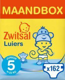 Zwitsal Luiers Junior Maat 5 - 162 stuks Maandbox