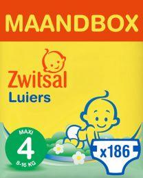 Zwitsal Luiers Maxi Maat 4 -186 stuks Maandbox