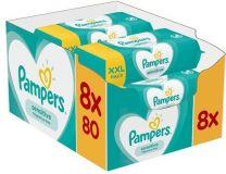 Pampers Billendoekjes Sensitive 8 x 80 Stuks Voordeelverpakking