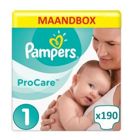 Pampers Procare Premium Protection Maat 1- 190 Luiers Maandbox
