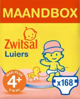 Zwitsal Luiers Maxi Plus Maat 4+ - 168 stuks Maandbox